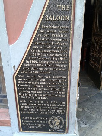 The Saloon: Historic plate w/ details on building