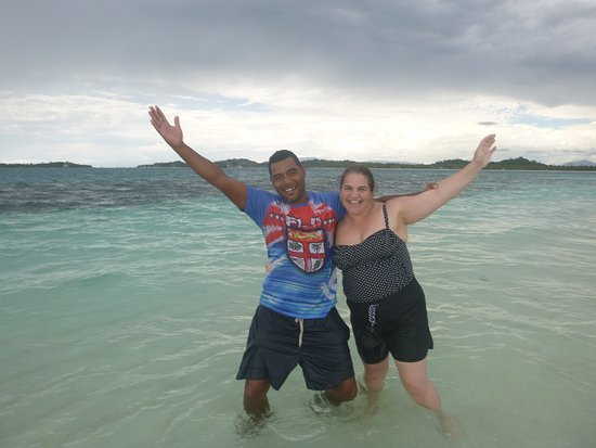 Authentic Fijian Day Cruise - Best Day You Will Have In Fiji - Guaranteed: My wife with one of the Crusin Fiji guys on the sandbar