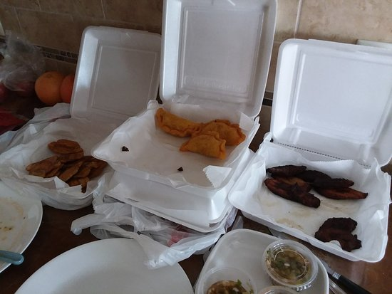 La Colombiana Restaurante: Carry out beef empanadas and plantains.