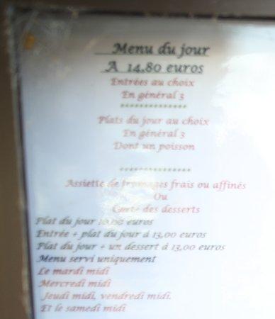 Restaurant de la Cloche: le menu