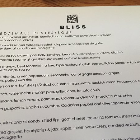Bliss: Glimpse of the menu