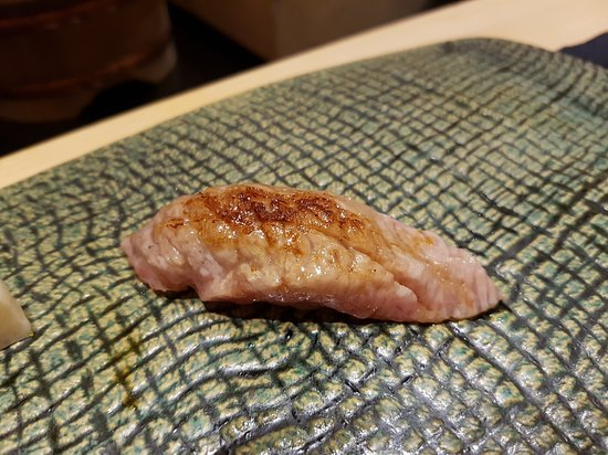 Ginza Sushiichi: Kama Toro Aburi with charcoal
