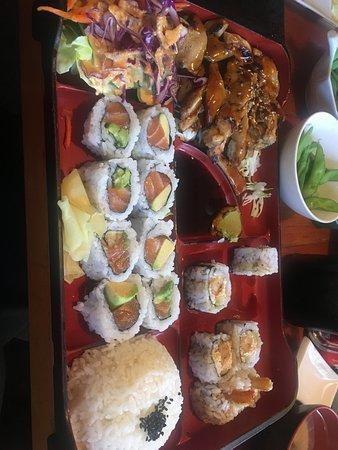 Bento box with Alaska sushi and Chicken Teriyaki