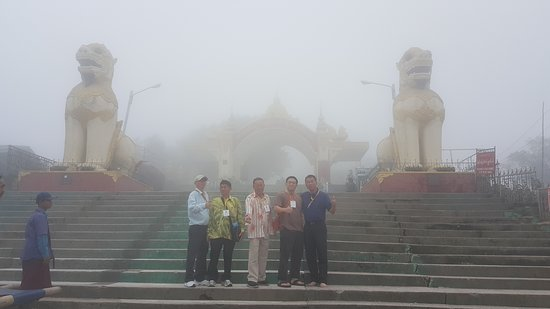 The Real Yangon Day Tour: Entrence to Golden Rock.....Rain stop after we arrive