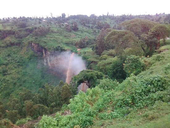 Kapchorwa, Uganda: The Sipi Falls at a distance.