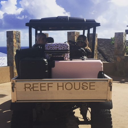 Reef House Estate Villa Oil Nut Bay private cart