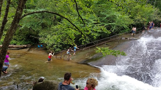 Sliding Rock: crossing the water area to climb the rock