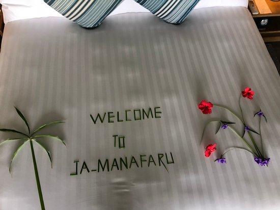 JA Manafaru: Welcome Bed Message