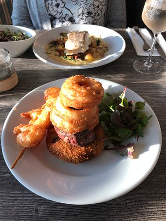 Quay West Restaurant: smoked haddock and filet mignon and beer-battered shrimp