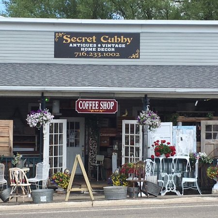 Secret Cubby is nestled in the center of our quaint town Findley Lake. Antiques, vintage and hom