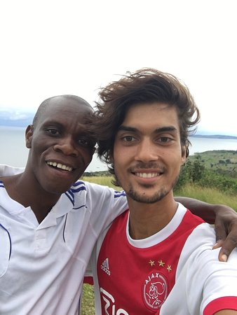 Ukerewe Tour Project: Pascal and myself on the highest hill of Ukerewe Island
