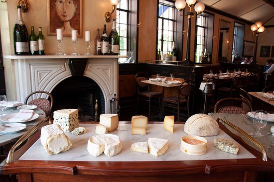 Petit Louis Bistro: Cheese Cart and Fireplace