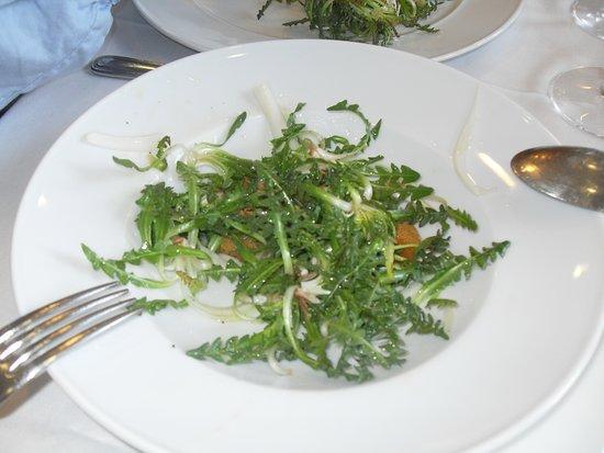 La cuina de l Hostal Dolcet: Ensalada de xicoia (hierba silvestre, de temporada).