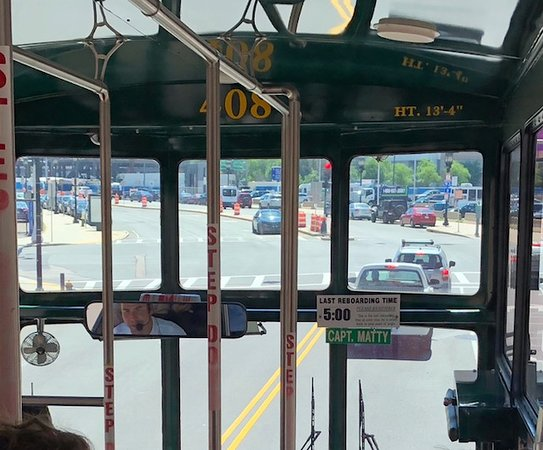 Old Town Trolley Tours: This is apicture of Capt Matty in the rear view mirror - which was a great way to watch him!