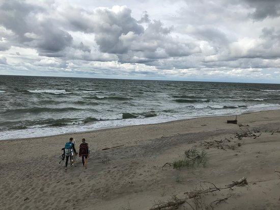 Куршская коса: surfers at 13degC (water 16degC)