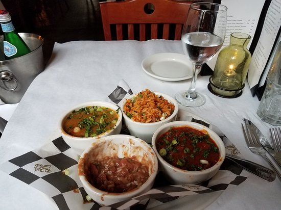 New Orleans Creole Cookery: Sampler with Jambaylaya, shrimp creole, red beans and rice, and crawfish etouffe.
