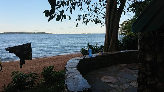 Banda Island Resort and Campsite: Cabin Patio View. You go to sleep and wake to the sound of the lake's waves.