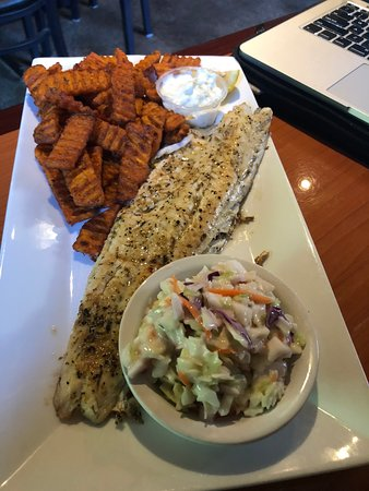 Middleville, MI: fresh walleye and cole slaw and sweet potato fries