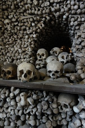 The Cemetery Church of All Saints with the Ossuary: Human skulls and bones