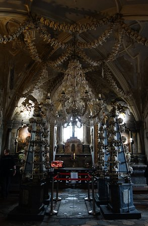 The Cemetery Church of All Saints with the Ossuary: Human bone chandelier
