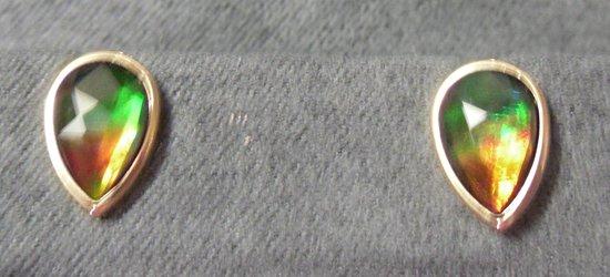 Costa Maya, México: 14 K yellow gold Ammolite earrings.