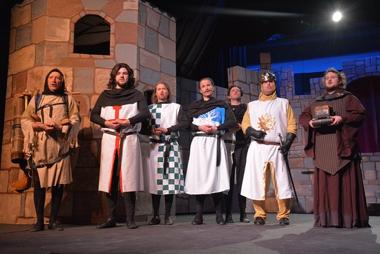 Jesters Dinner Theatre: My son, Paul, 3rd from right, in Monty Python play.