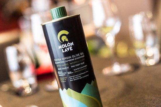 The best Greek olive oil at Restaurant Namasté