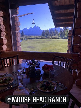 Moose Head Ranch: view from our table... fresh wildflowers and humming birds.