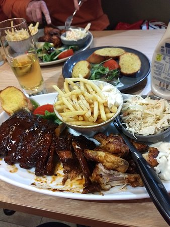 Sweet bbq ribs with chicken wings