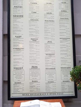 U Dvou Pánů: le menu