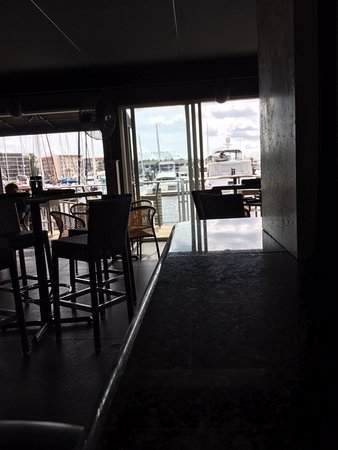 View through the Patio area to outside seating and marina