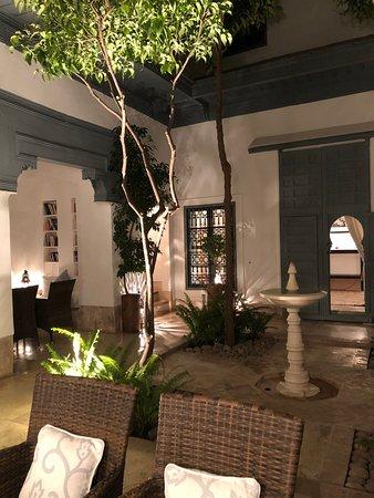 Dar Hanane has a few common areas like this beautiful patio.