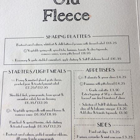 The Old Fleece: Menu