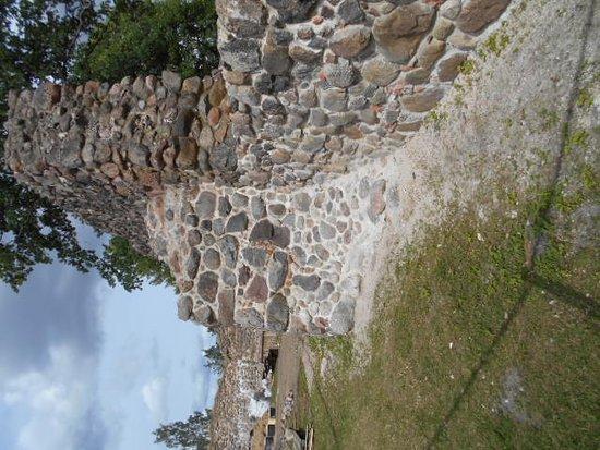 Aluksne Castle-ruins, Manor and Park: Fästningens borggård.