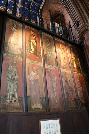 Carlisle Cathedral: Mediaeval paintings on the back of the choir stalls