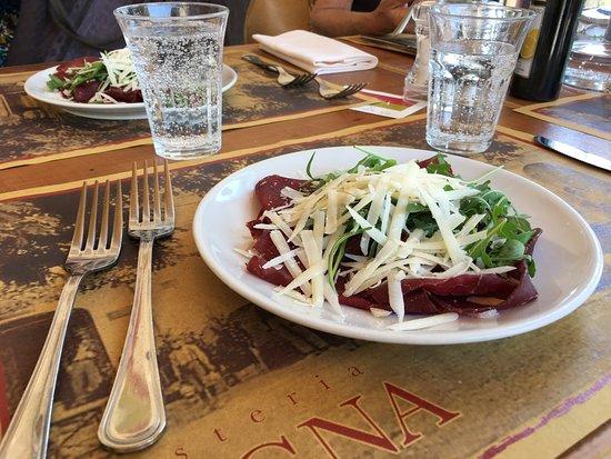 Casperia, Italy: Antipasto Carpaccio -portions were VERY generous!