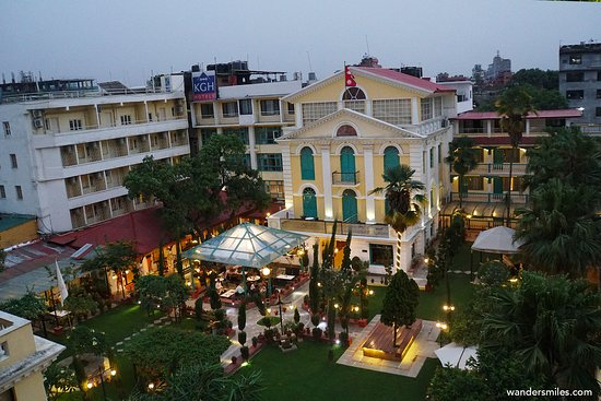 Kathmandu Guest House at night overlooking the beautiful gardens