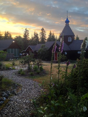Vashon, WA: Monastery grounds with the Russian style church in the background