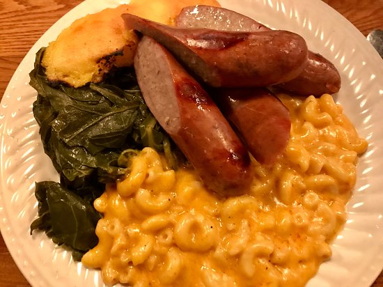 Gravy: Mac and cheese, sausages, greens