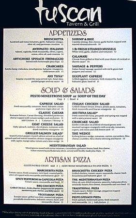 Tuscan Tavern & Grill: Lunch Menu