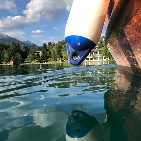 Bled Island: Charming place. Boat ride costs €12 for an adult. Suitable for baby stroller as there is an acce