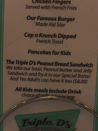 Triple D's Diner: PB & J fried sandwich description