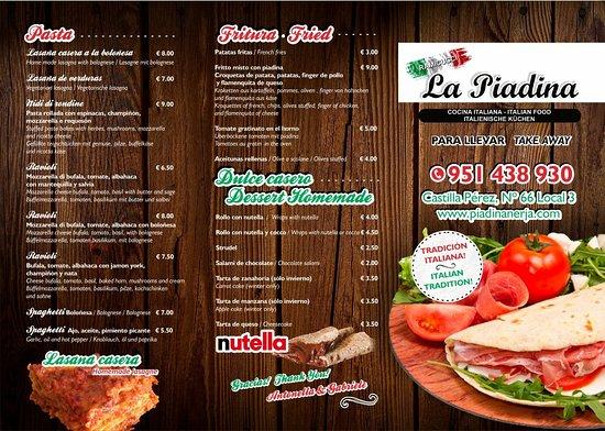 La Piadina: Menù take away / para llevar