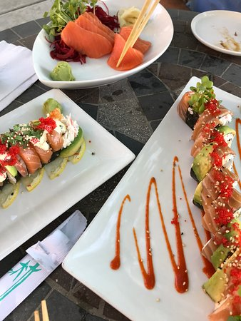 Ahi Sushi Bar: Left is the Happy Camper (off menu). Right is a chef's choice. They're both protein style.