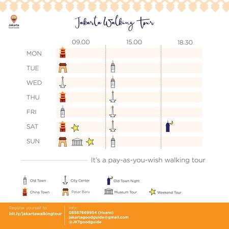 Schedule for Jakarta Walking Tour