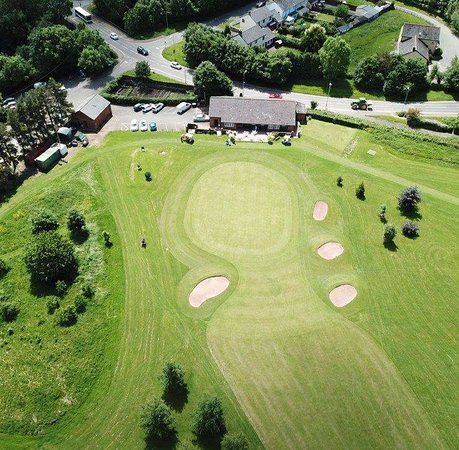Brecon, UK: View of the 9th green from above