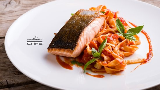 Solier Cafe - Restaurant & Confectionary: Grilled salmon with tomato homemade pasta