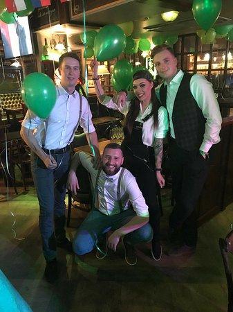 Irish Nese Pub: Irish Nesė Pub Staff celebrating St. Patricks Day