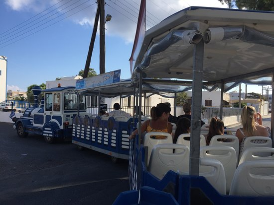 Dng Travel - Santorini Train Tour: View from the back carriage of the Fun Train!