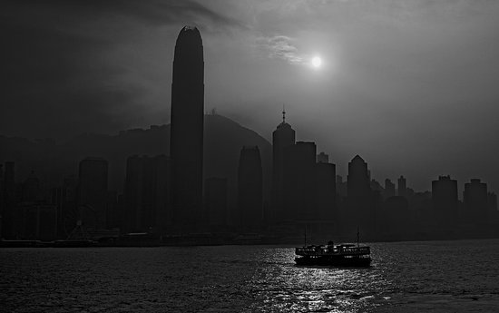 J3 Private Tours Hong Kong: Iconic Star Ferry, in Hong Kong Harbour on a hazy day